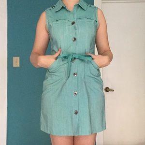 Brooklyn Industries Teal Denim Shirt Dress